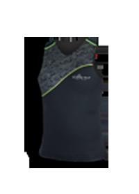 Airprene Shrit ärmellos schwarz mit grünem Streifen