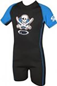 Kinder Neopren Anzug 2mm/ kurzärmlig / schwarz-blau mit Piratenmotiv