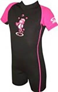Kinder Neopren Anzug 2mm/ kurzärmlig / schwarz-rosa mit Seepferdchenmotiv